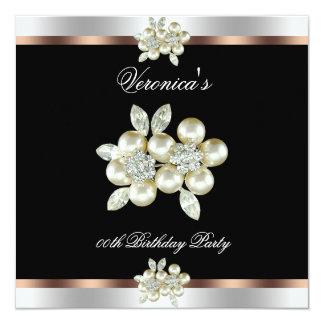Coffee Black Silver Diamond Pearl Birthday Party 13 Cm X 13 Cm Square Invitation Card
