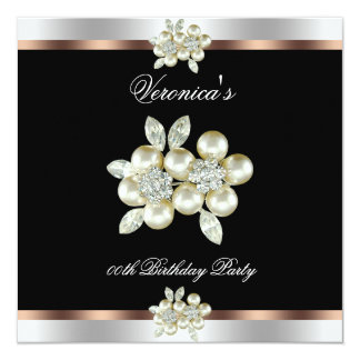 Coffee Black Silver Diamond Pearl Birthday Party Invite