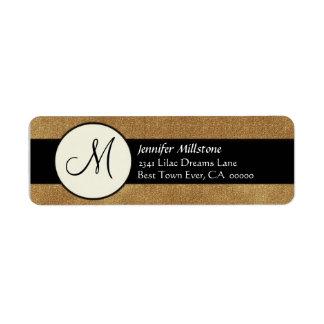 Coffee & Black Wedding Monogram Address Label