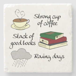 Coffee, Books & Rain Stone Coaster