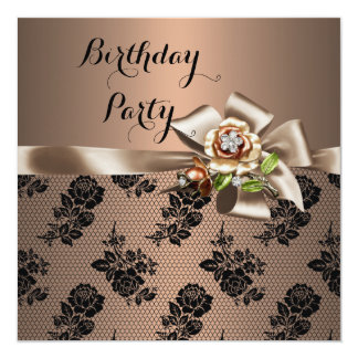Coffee Brown Black Lace Birthday Party 13 Cm X 13 Cm Square Invitation Card