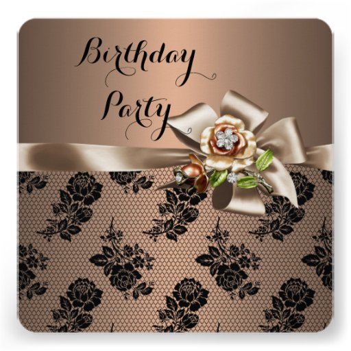 Coffee Brown Black Lace Birthday Party Custom Announcement