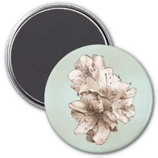 Coffee Brown Illustrated Flower + Customize Color Fridge Magnets