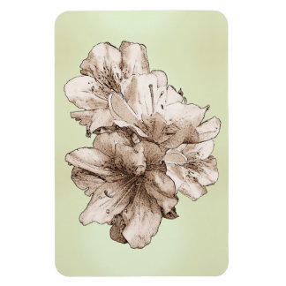 Coffee Brown Illustrated Flower + Customize Color Magnets