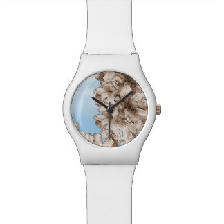 Coffee Brown Illustrated Flower Floral on Sky Wrist Watches