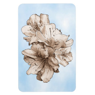 Coffee Brown Illustrated Flower Floral on Sky Flexible Magnet