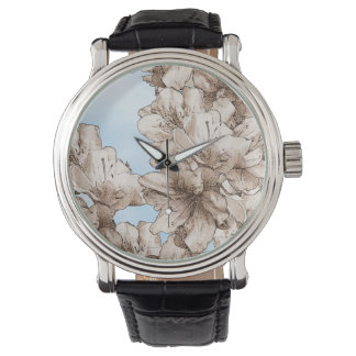 Coffee Brown Illustrated Flower Floral on Sky Wristwatch
