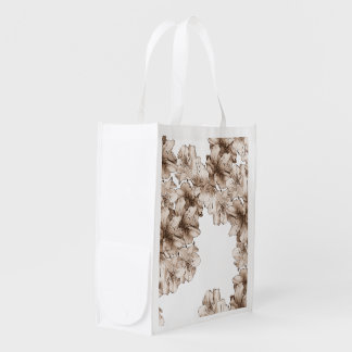 Coffee Brown Illustrated Flower Floral Pattern Grocery Bag