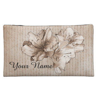 Coffee Brown Illustrated Flower Floral + Your Name Makeup Bag