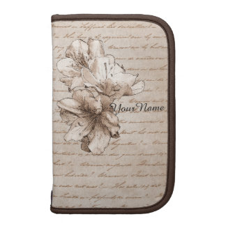Coffee Brown Illustrated Flower Floral + Your Name Folio Planner