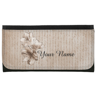 Coffee Brown Illustrated Flower Floral + Your Name Wallet