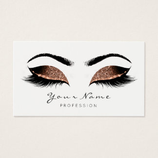 Coffee Brown Makeup Artist Lashes Black White Business Card