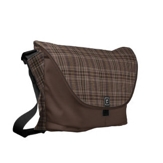 Coffee Brown Plaid Pattern Commuter Bag