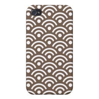 Coffee Brown Seigaiha Design Iphone 4/4S Case