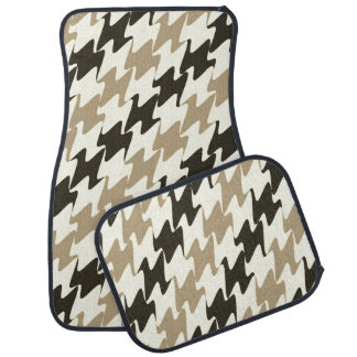 Coffee Brown Wave Geometric Print Pattern Car Mat