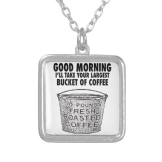 Coffee by the bucket silver plated necklace