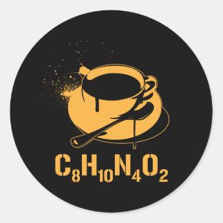 Coffee C8H10N4O2 Round Sticker