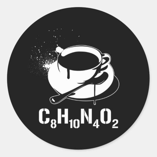 Coffee C8H10N4O2 Round Stickers