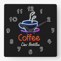Coffee Cafe Neon Sign Personalised Square Wall Clock