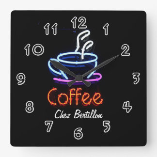 Coffee Cafe Neon Sign Personalized Wall Clock