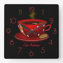 Coffee Cafe Red and Black Personalised Square Wall Clock