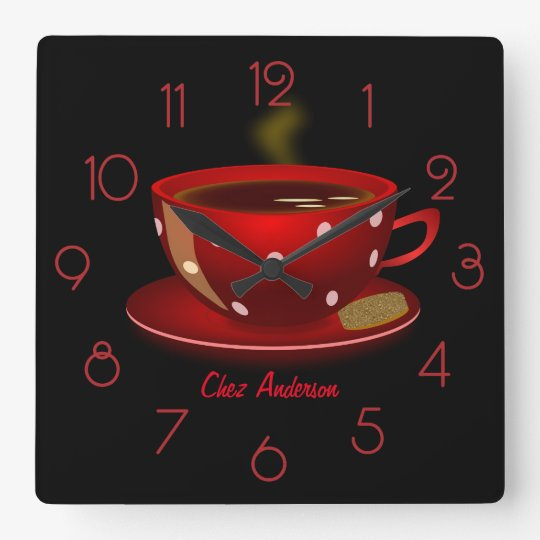 Coffee Cafe Red and Black Personalised Square Wall