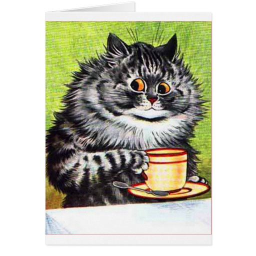 Coffee Cat (Vintage Image) Greeting Cards