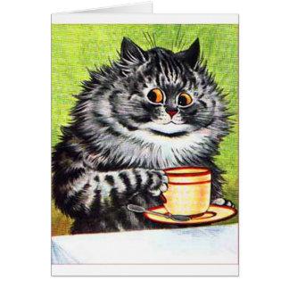 Coffee Cat Vintage Image Greeting Cards