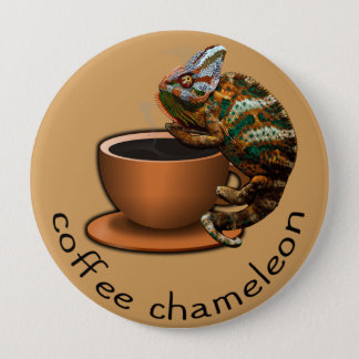 Coffee Chameleon 10 Cm Round Badge