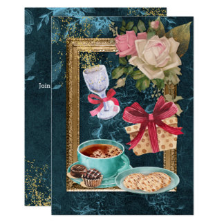 Coffee Chocolate Cookies Rose Wine Party Card