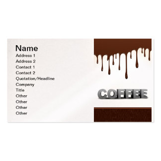 COFFEE CHOCOLATE DRIPS YUMMY DELICIOUS WORDS GRAPH PACK OF STANDARD BUSINESS CARDS