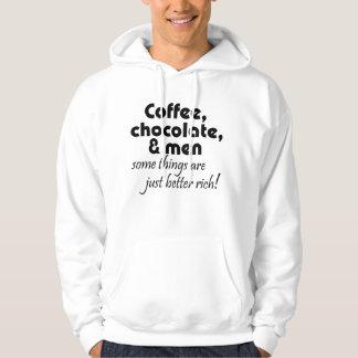 Coffee, chocolate & men joke hoodie novelty gifts