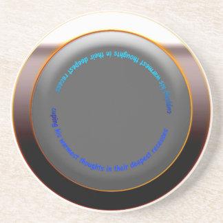Coffee Coaster Matt Black /Bronze Rim with wording