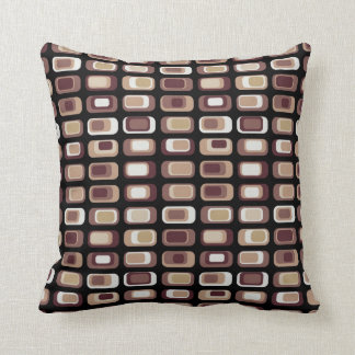 Coffee colored allover retro style squares pattern throw pillows