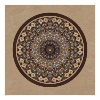 Coffee Colors Abstract Mandala Poster