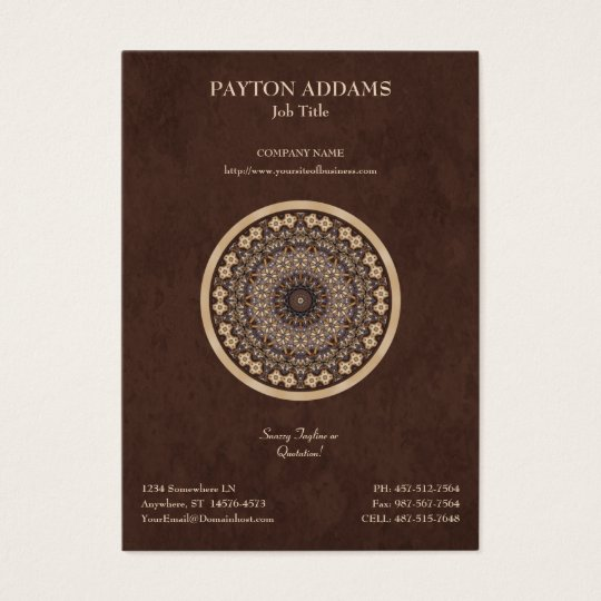 Coffee Colours Abstract Mandala Business Card