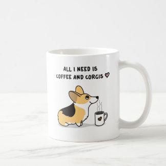 Coffee & Corgis [tricolor] Coffee Mug