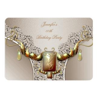 Coffee Cream Amber Gold Birthday Party Lace Jewel 13 Cm X 18 Cm Invitation Card