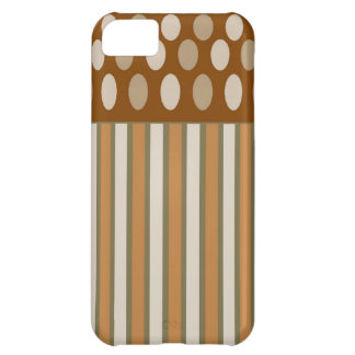Coffee Cream Circles and Stripes iPhone5 Case. iPhone 5C Case