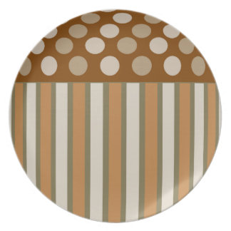 Coffee Cream Circles and Stripes Plate