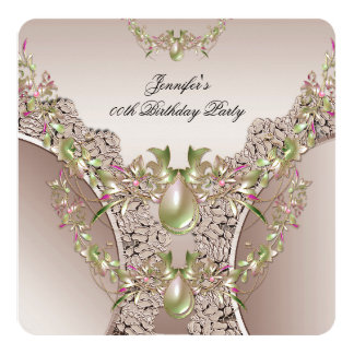 Coffee Cream Pink Gold Birthday Party Lace Jewel 13 Cm X 13 Cm Square Invitation Card