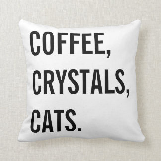 Coffee, Crystals, Cats Cushion