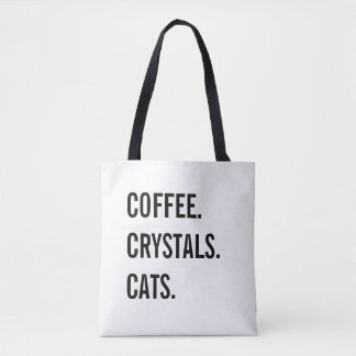 Coffee, Crystals, Cats Tote Bag