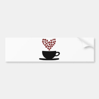 Coffee Cup and Coffee Bean Heart. Bumper Sticker