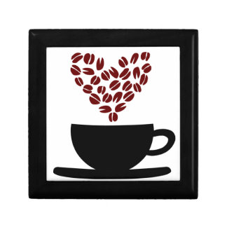 Coffee Cup and Coffee Bean Heart. Gift Box