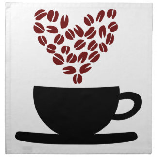 Coffee Cup and Coffee Bean Heart. Napkin