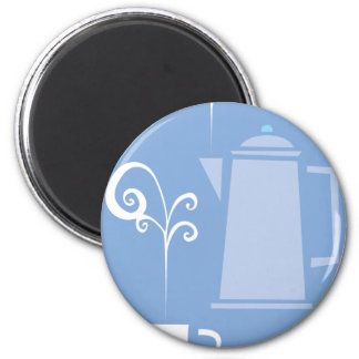 Coffee Cup and Pot 6 Cm Round Magnet