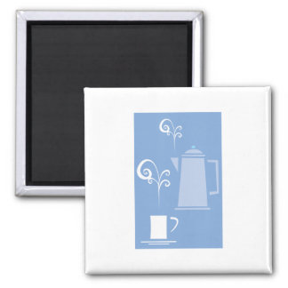 Coffee Cup and Pot Square Magnet