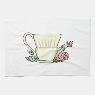 Coffee Cup And Rose Tea Towel