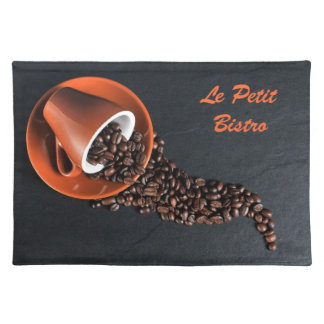 Coffee cup and spilled beans placemat